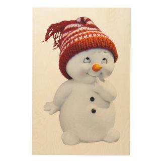 CUTE PLAYFUL SNOWMAN WOOD WALL DECOR