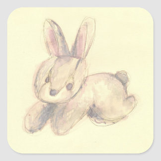 Cute Plush Bunny Square Sticker