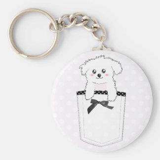 Cute Pocket Puppy Dog Basic Round Button Key Ring