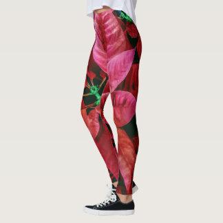 Cute Poinsettia Photo Print Red Leggings