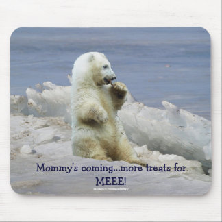 Cute Polar Bear Cub & Arctic Ice Funny Mousepad