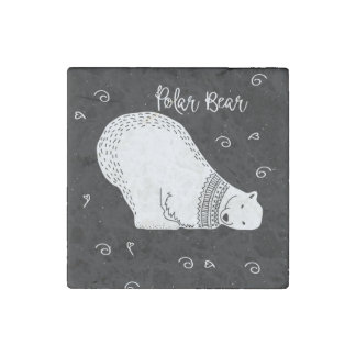 Cute Polar Bear Design in Black and White Stone Magnet