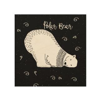 Cute Polar Bear Design in Black and White Wood Print