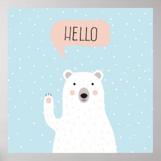 Cute Polar Bear in the Snow says Hello Poster