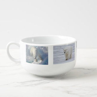 Cute Polar Bear Snow Winter Animal Water Park Art Soup Bowl With Handle