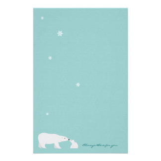 Cute Polar Bear Stationery: Always there for you Stationery Paper