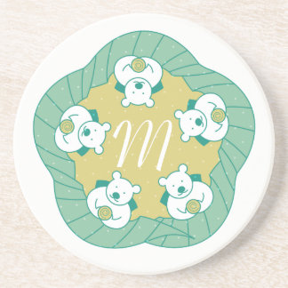 Cute Polar Bear Tea Break Monogram Coaster