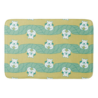 Cute Polar Bear Tea Break Pattern Bath Mat