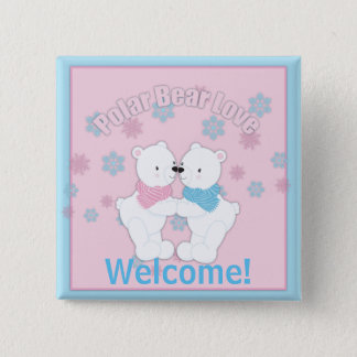 Cute Polar Bears and Snowflakes Personalized 15 Cm Square Badge