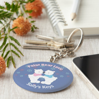 Cute Polar Bears and Snowflakes Personalized Key Ring