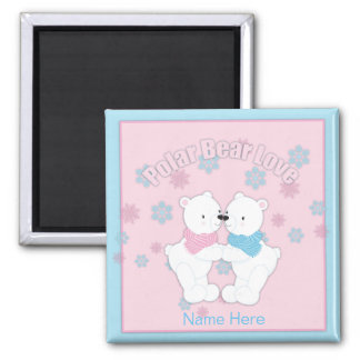 Cute Polar Bears and Snowflakes Personalized Magnet