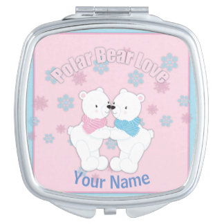 Cute Polar Bears and Snowflakes Personalized Travel Mirror