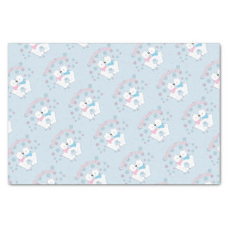 Cute Polar Bears and Snowflakes Tissue Paper