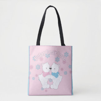 Cute Polar Bears and Snowflakes Tote Bag