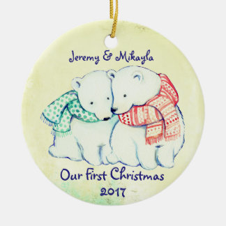 "Cute Polar Bears in Scarves ""Our First Christmas"" Round Ceramic Decoration"