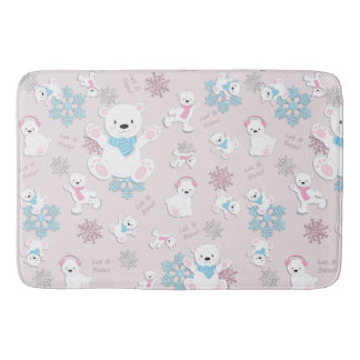 Cute Polar Bears Let It Snow Pattern Print Bath Mat