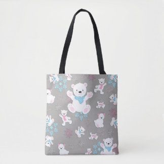 Cute Polar Bears Let It Snow Pattern Print Tote Bag
