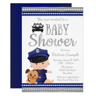 Cute Police Baby Shower Invitation