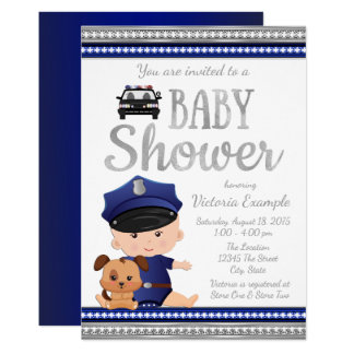 Cute Police Baby Shower Invitations