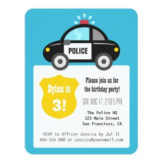 Cute Police Car Kids Birthday Party 11 Cm X 14 Cm Invitation Card