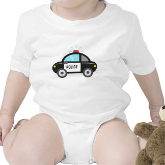 Cute Police Car with Siren Baby Bodysuits