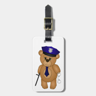 Cute Policeman Kids Teddy Bear Cartoon Mascot Luggage Tag