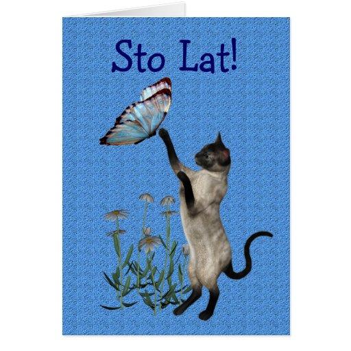 Cute Polish Birthday Card Cat Butterfly