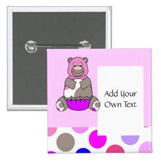 Cute Polka Dot Birthday Bear Customizable Button