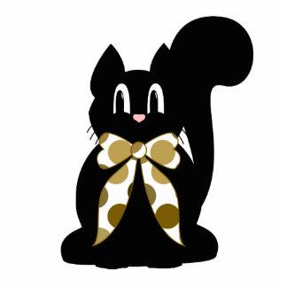 Cute Polka Dot Black Kitty Cat Ornament Photo Cut Out