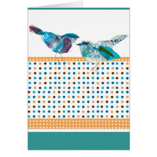 Cute Polka Dot Blue Bird Modern Design Card