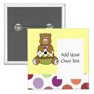 Cute Polka Dot Brown Birthday Bear Custom Button