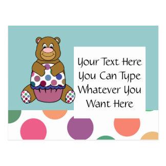 Cute Polka Dot Brown Birthday Bear Postcard