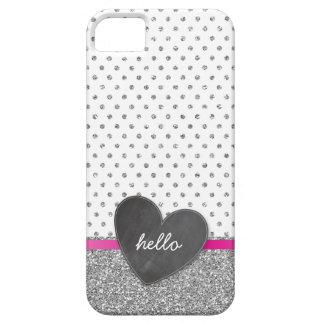 CUTE polka dot chalkboard heart glitter silver iPhone 5 Case