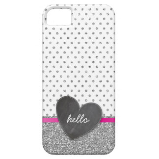 CUTE polka dot chalkboard heart glitter silver iPhone 5 Cover