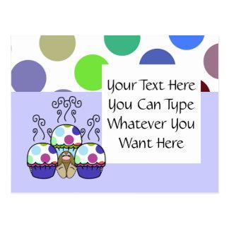 cute polka dot cupcake postcards