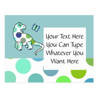 Cute Polka Dot Dinosaur Postcard