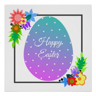 Cute polka dot Easter egg with floral wreath Poster