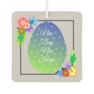 Cute polka dot egg with floral wreath car air freshener