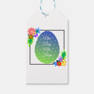 Cute polka dot egg with floral wreath gift tags