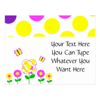 Cute Polka Dot Flowers Postcard
