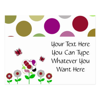 Cute Polka Dot Flowers Postcard