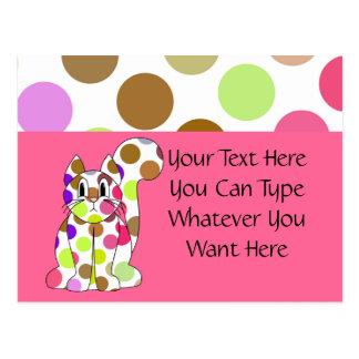 Cute Polka Dot Kitty Cat Postcard