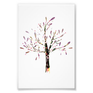 Cute Polka Dot Lavender Leaf Tree Photo Print