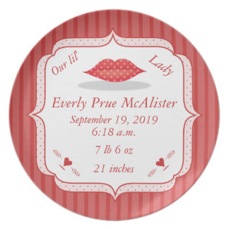 Cute Polka Dot Lips Lil Lady Baby Girl Stats Party Plate