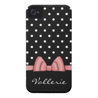 Cute Polka Dots and Pink Bow iPhone 4 Case