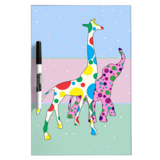 Cute Polka Dots Giraffe Elephant Design Dry Erase White Board