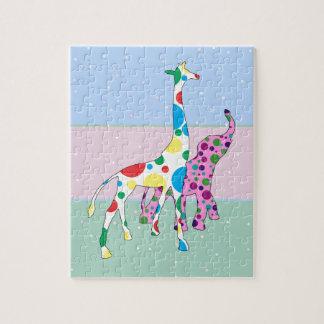 Cute Polka Dots Giraffe Elephant Design Puzzle