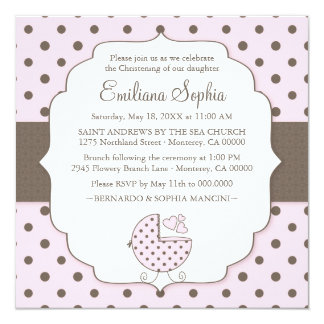 Cute Polka Dots Modern Baby Christening Invitation