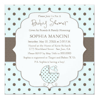 Cute Polka Dots Modern Baby Shower Invitation