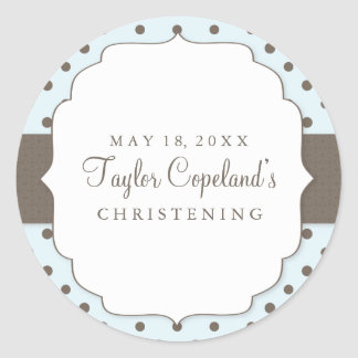 Cute Polka Dots Modern Christening Sticker